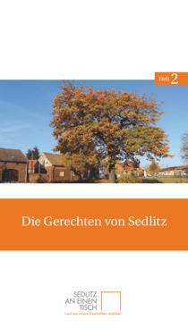 Titelseite des zweiten Heftes von Sedlitz an einen Tisch: »Die Gerechten von Sedlitz«