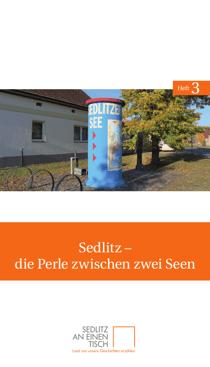 Titelseite des dritten Heftes von Sedlitz an einen Tisch: »Sedlitz – die Perle zwischen zwei Seen«